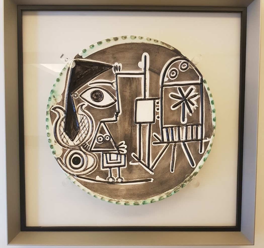 Encadrement plexiglas et aluminium céramique Picasso (Jacqueline au Chevalet)
